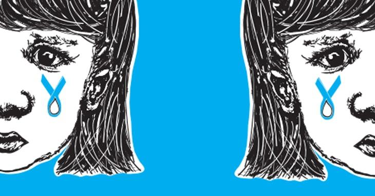 Laço azul pelas vítimas de violência infantil